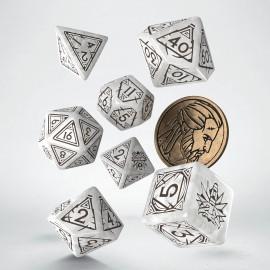 PRZEDSPRZEDAŻ Wiedźmin, zestaw kości RPG. Geralt - Biały Wilk