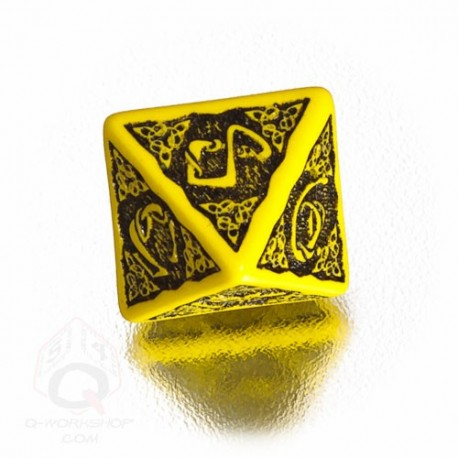 D8 Celtic 3D Yellow & black Die (1)