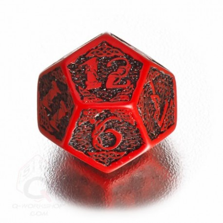 D12 Celtic 3D Red & black Die (1)