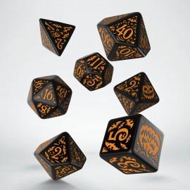 Kości RPG Haloweenowych Huncwotów Czarno-Pomarańczowe
