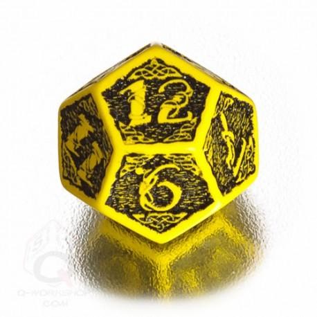 D12 Celtic 3D Yellow & black Die (1)