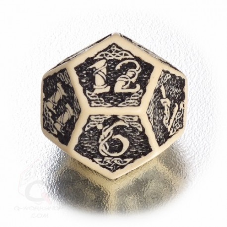 D12 Celtic 3D Beige & black Die (1)