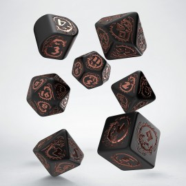 Kości RPG Smocze Modern Czarno-miedziane