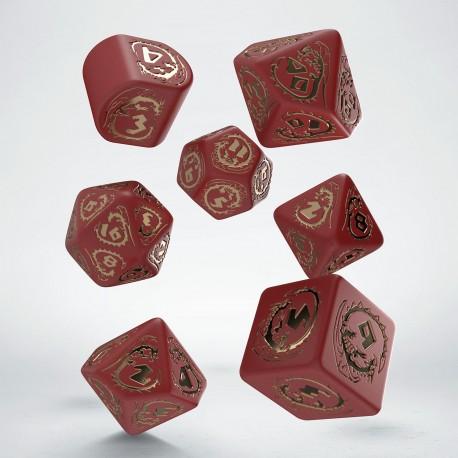 Kości RPG Smocze Modern Czerwono-złote