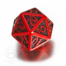 D20 Celtic 3D Red & black Die (1)
