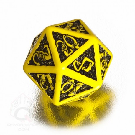 D20 Celtic 3D Yellow & black Die (1)
