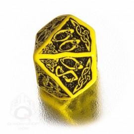 D100 Celtic 3D Yellow & black Die (1)