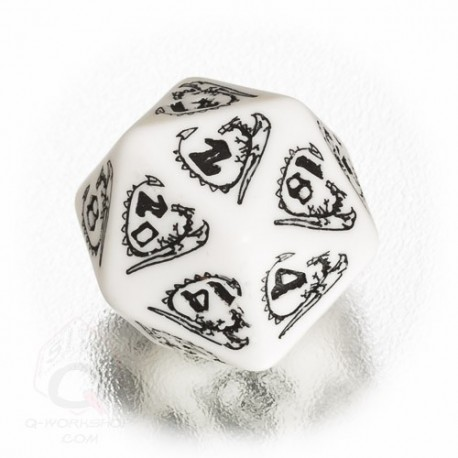 D20 Dragons White & black Die (1)