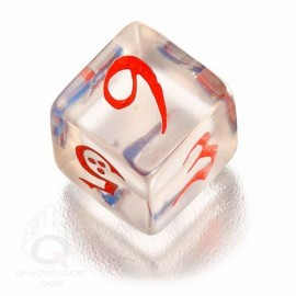 D6 Classic Translucent Blue & red Die (1)
