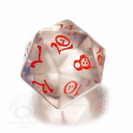D20 Classic Translucent Blue & red Die (1)
