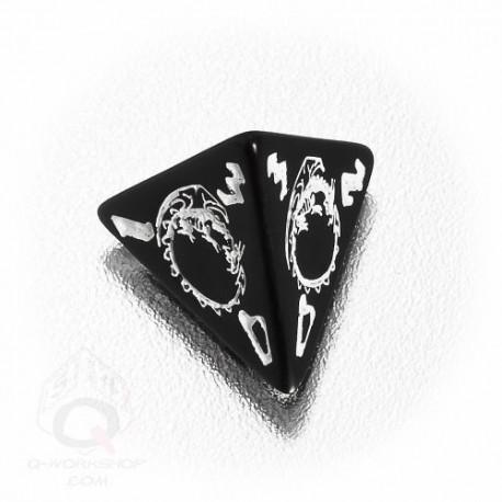 D4 Dragons Black & white Die (1)