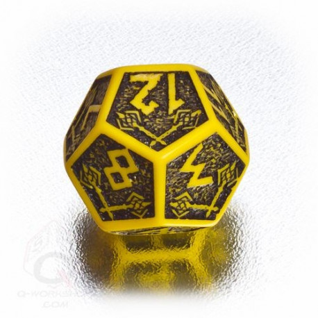 D12 Dwarven Yellow & black Die (1)