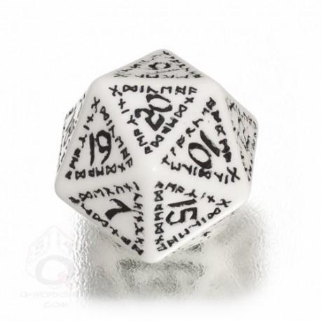 D20 Runic White & black Die (1)