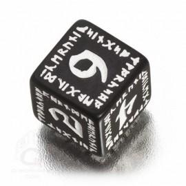 D6 Runic Black & white Die (1)