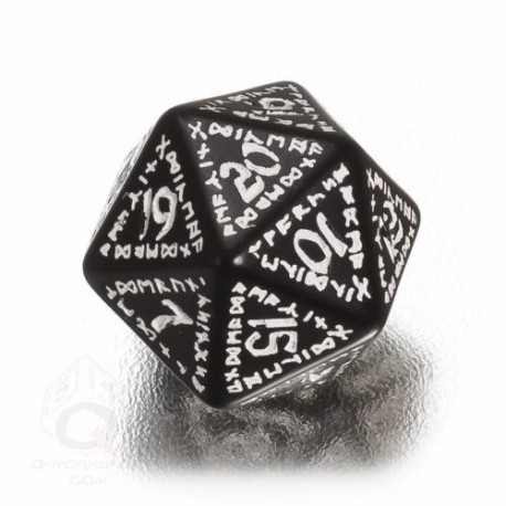 D20 Runic Black & white Die (1)