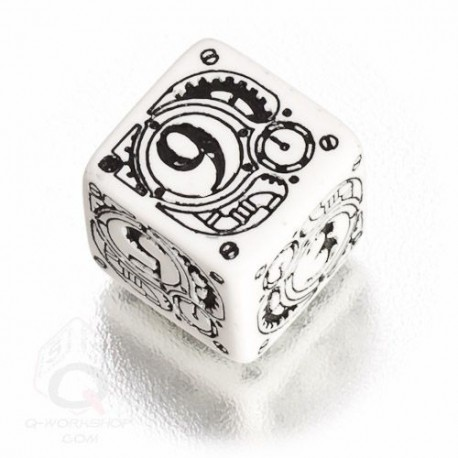 D6 Steampunk White & black Die (1)