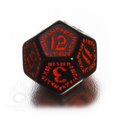 D12 Runic Black & red Die (1)