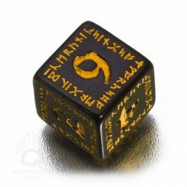 D6 Runic Black & yellow Die (1)