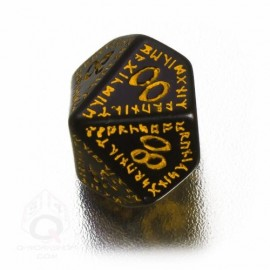 D100 Runic Black & yellow Die (1)