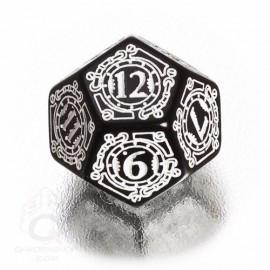 D12 Steampunk Black & white Die (1)