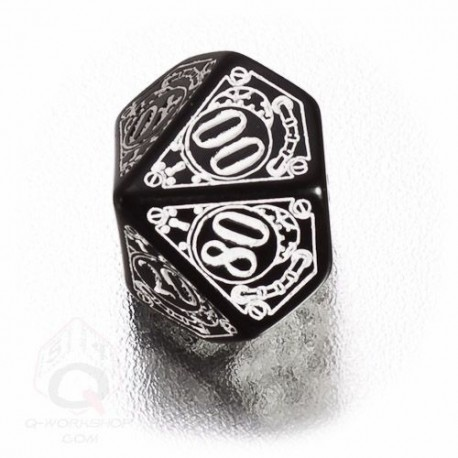 D100 Steampunk Black & white Die (1)
