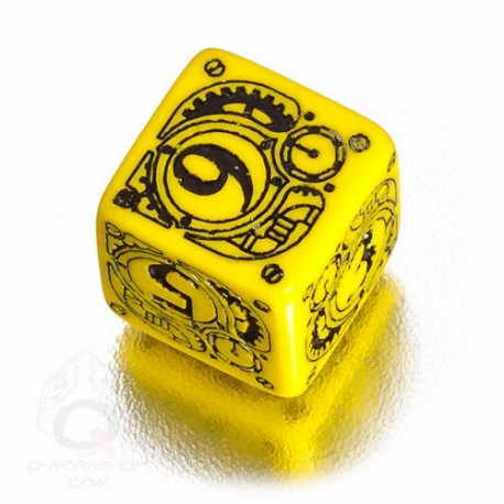 D6 Steampunk Yellow & black Die (1)