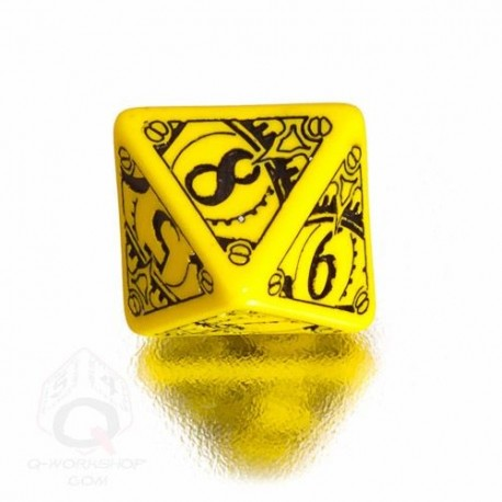 D8 Steampunk Yellow & black Die (1)