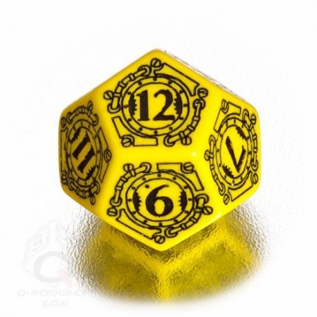 D12 Steampunk Yellow & black Die (1)