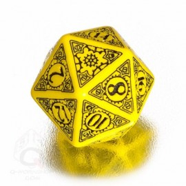 D20 Steampunk Yellow & black Die (1)