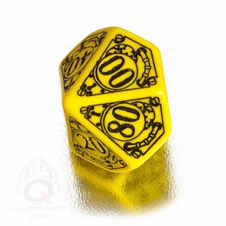 D100 Steampunk Yellow & black Die (1)