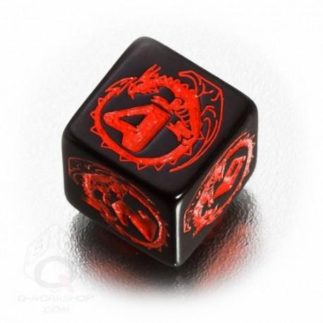 D6 Dragons Black & red Die (1)
