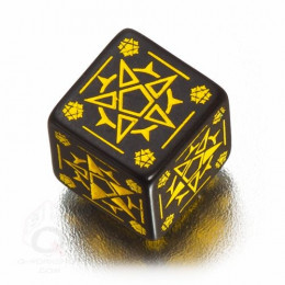 D6 Pentagram Black & yellow Die (1)