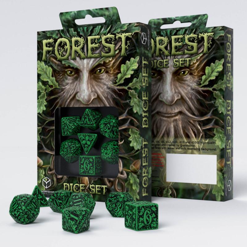 Q-Workshop Forest Green Dice Set Dungeons and DragonsLARPRPG