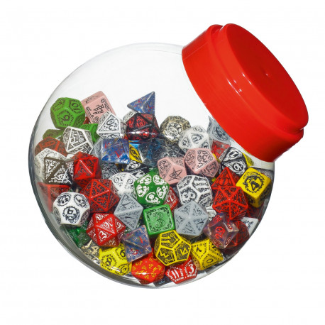 Jar of dice with D4, D6, D8, D10, D12, D20, D100 (150)