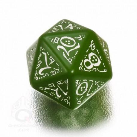 D20 Elvish Green & white Die (1)