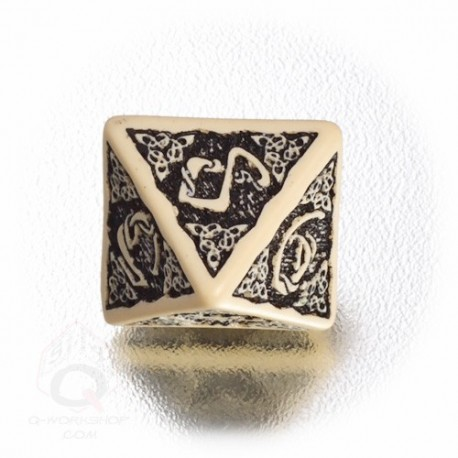 D8 Celtic 3D Beige & black Die (1)