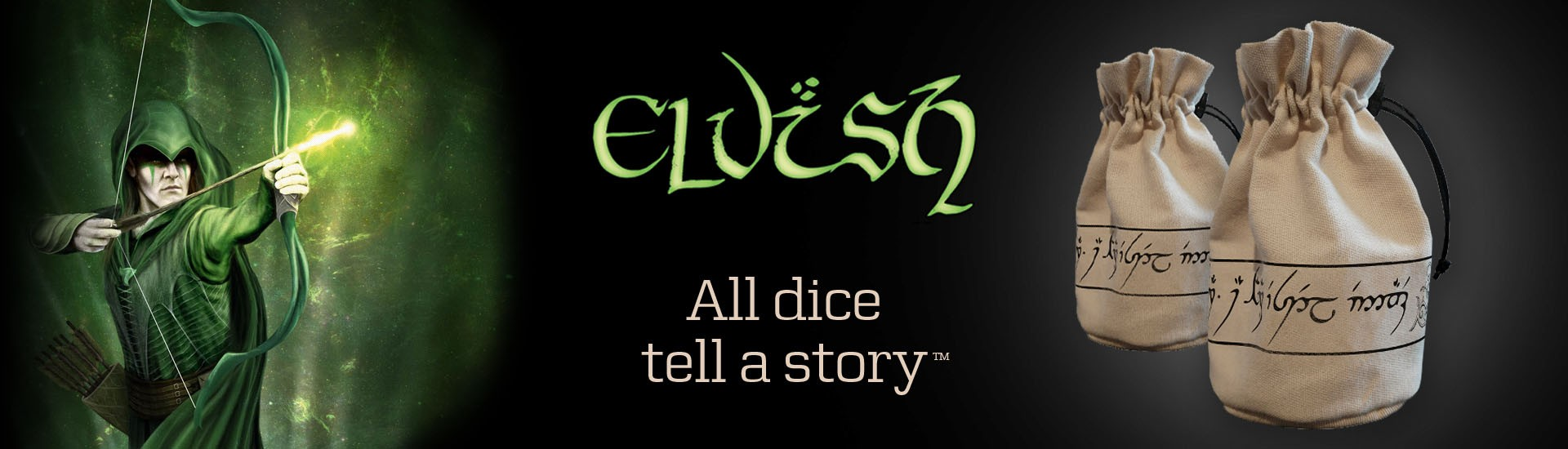 New Elvish Beige & black Dice Pouch