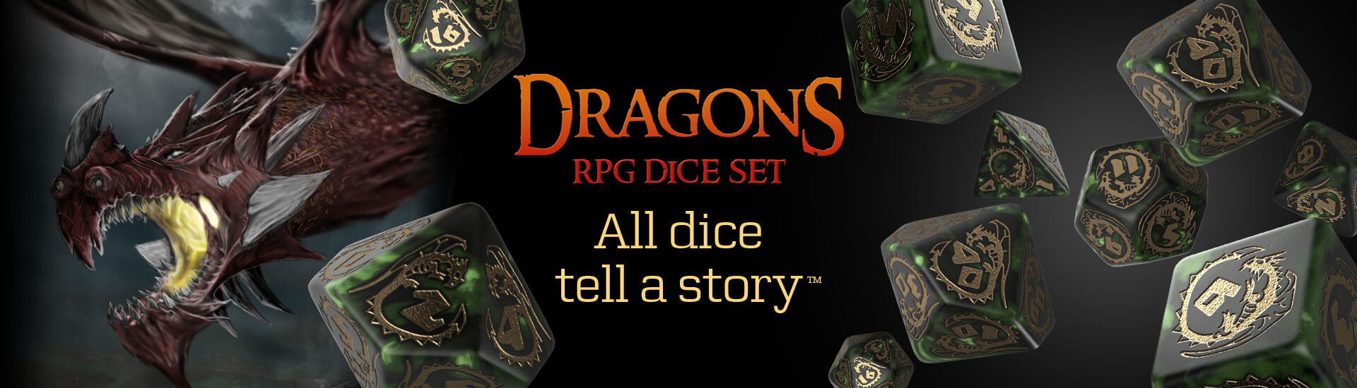 Dragons Bottle green & gold Dice Set